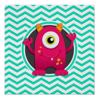 Red Monster; Aqua Green Chevron Poster