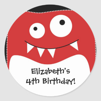 Red Monster Bash Birthday Sticker