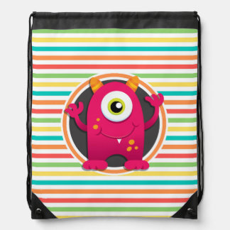 Red Monster; Bright Rainbow Stripes Drawstring Backpack