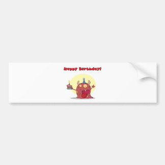 Red Monster Celebrates Birthday With Cake Bumper Sticker