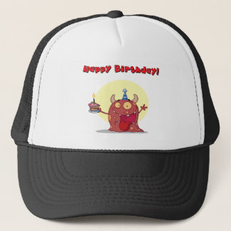 Red Monster Celebrates Birthday With Cake Trucker Hat