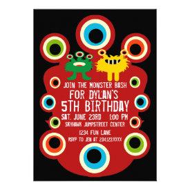 Red Monster Eyes Birthday Party Invitation