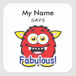 Red Monster - Fabulous! Square Sticker