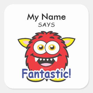 Red Monster - Fantastic! Square Sticker