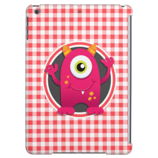 Red Monster on Red and White Gingham iPad Air Covers