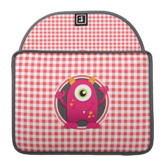 Red Monster on Red and White Gingham MacBook Pro Sleeve