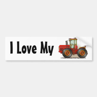 """Red Monster Tractor, I Love My…Bumper Stickers"" Bumper Sticker"