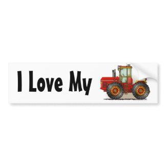 """Red Monster Tractor, I Love My…Bumper Stickers"" Bumper Sticker"