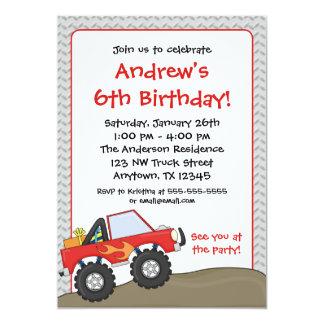 "Red Monster Truck Birthday Invitations 5"" X 7"" Invitation Card"