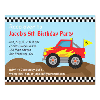 """Red Monster Truck Birthday Party, For Kids 4.25"""" X 5.5"""" Invitation Card"""