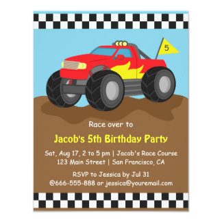 """Red Monster Truck Birthday Party 4.25"""" X 5.5"""" Invitation Card"""