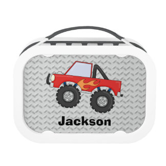 Red Monster Truck Boys Personalized Yubo Lunch Box