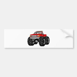 RED MONSTER TRUCK BUMPER STICKER