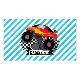 Red Monster Truck; Checkered Flag; Blue Stripes Business Card Template