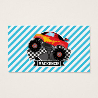 Red Monster Truck; Checkered Flag; Blue Stripes Business Card