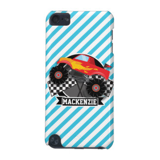Red Monster Truck; Checkered Flag; Blue Stripes iPod Touch 5G Case