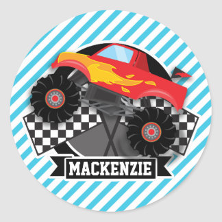 Red Monster Truck; Checkered Flag; Blue Stripes Classic Round Sticker