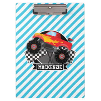 Red Monster Truck; Checkered Flag; Blue Stripes Clipboard