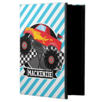 Red Monster Truck; Checkered Flag; Blue Stripes Cover For iPad Air