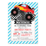 Red Monster Truck; Checkered Flag; Blue Stripes Personalized Invitation Cards