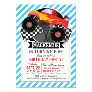 Red Monster Truck; Checkered Flag; Blue Stripes 5x7 Paper Invitation Card