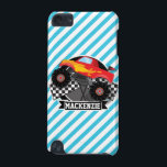 "Red Monster Truck; Checkered Flag; Blue Stripes iPod Touch 5G Case<br><div class=""desc"">Cool, colorful kid&#39;s Red Monster Truck with orange flames; black and white Checkered Flag design on Blue &amp; White Stripes pattern. Perfect gift for baby, toddler, kids, children, teens, or adults! Personalized the design by adding a child&#39;s name or custom text. Visit our store, Birthday Party House, for more great...</div>"