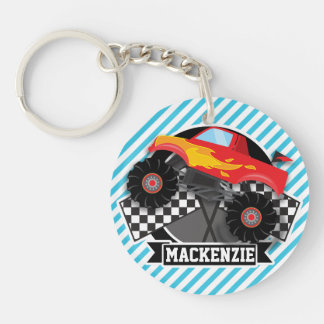 Red Monster Truck; Checkered Flag; Blue Stripes Double-Sided Round Acrylic Keychain
