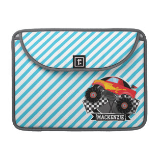 Red Monster Truck; Checkered Flag; Blue Stripes MacBook Pro Sleeves