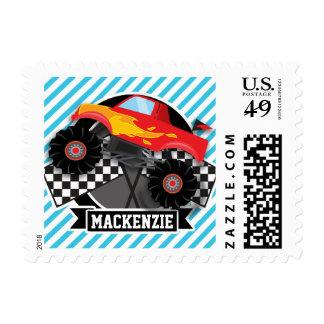 Red Monster Truck; Checkered Flag; Blue Stripes Postage