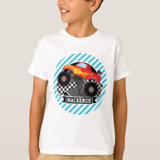 Red Monster Truck; Checkered Flag; Blue Stripes T-Shirt