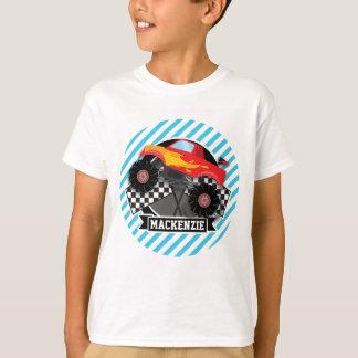 Red Monster Truck; Checkered Flag; Blue Stripes T-Shirt