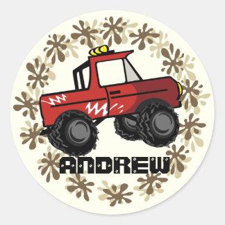 Red Monster Truck Classic Round Sticker