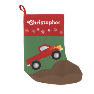 Red Monster Truck Personalized Small Christmas Stocking