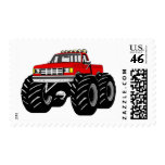 RED MONSTER TRUCK POSTAGE STAMP
