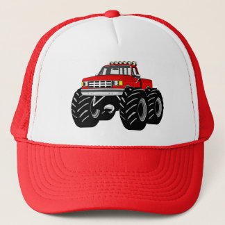 RED MONSTER TRUCK TRUCKER HAT