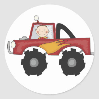 Red Monster Truck Tshirts and Gifts Round Sticker