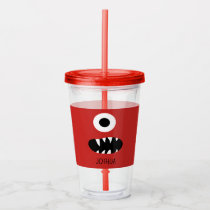 Red Monsters Face One Eyed Monster Personalized Acrylic Tumbler