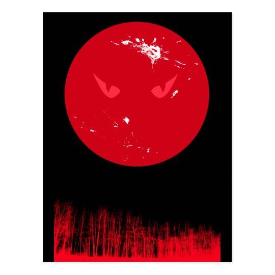 Red Moon Halloween postcard