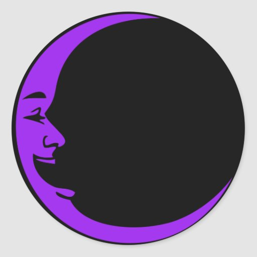Red Moon Purple Moon Green Moon White Laughing Man Round Sticker
