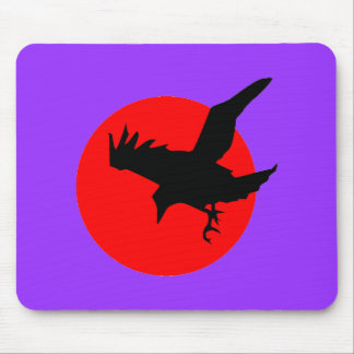 Red Moon Raven Mousepad