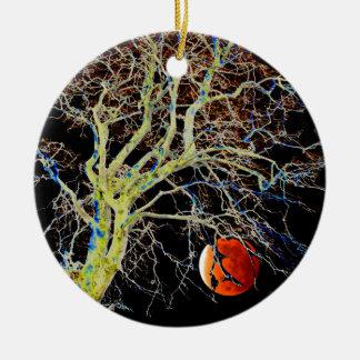 Red Moon Rising Ceramic Ornament