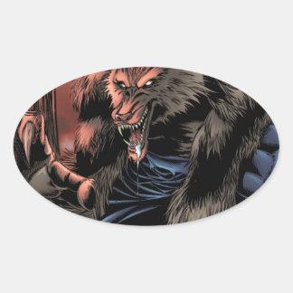 Red Moon Werewolf Oval Stickers