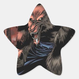 Red Moon Werewolf Star Sticker
