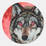 Red Moon Wolf Classic Round Sticker
