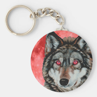 Red Moon Wolf Keychain