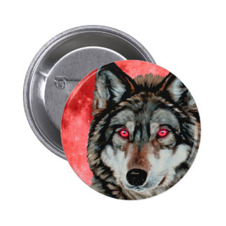Red Moon Wolf Pinback Button