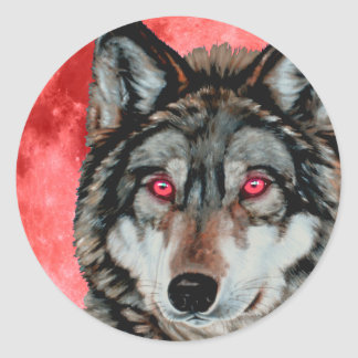 Red Moon Wolf Classic Round Sticker