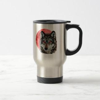 Red Moon Wolf Travel Mug