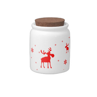 Red Moose and Red Snowflakes - Candy Jar
