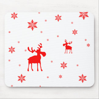 Red Moose and Red Snowflakes - Mousepad